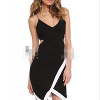 New Arrival Slim Backless Spaghetti Strap Hollow Out One Piece Dress = 5826245761