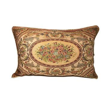 Tache 1-2 French Floral Chenille Woven Roman Garden Pillow Sham (DSC0023/LOUISA-1PC)