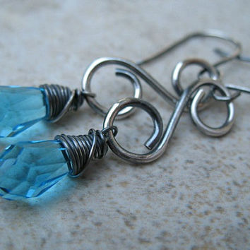 Blue Earrings Sterling Silver Jewelry Wire Wrapped Dangle Earrings