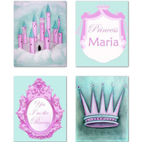 Princess Wall Art, Royal Crown, Cinderella Castle, Custom Name art, Pink Aqua, SET 4, Baby Girl Nursery, Princess decor, Princess Nursery