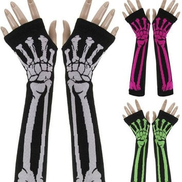 Gothic Deathrock Party Skeleton Long Arm Warmer Fingerless Dress Gloves = 1698054212