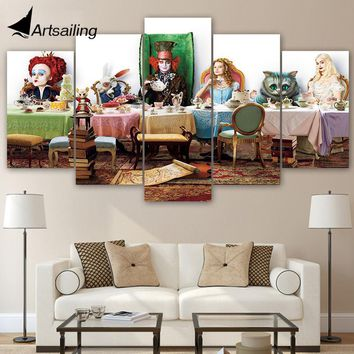 ArtSailing 5 Pieces canvas Printed Alice In Wonderland Paintings Wall Art Modular for Living Room Picture Home Decoration ny-539