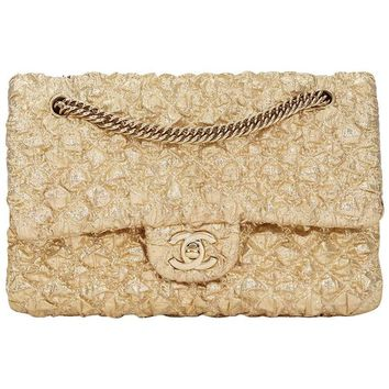 2000s Chanel Gold Quilted Lamé Fabric Small Classic Double Flap Bag