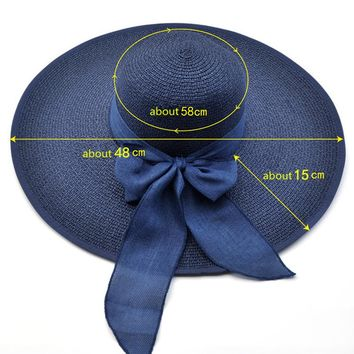 2017 Summer Adult Woman Bow Sun Hats Sunset Foldable Fashion Casual Beach Hat Big Canopy Wind Rope Fixed Sunscreen UV Straw Hat