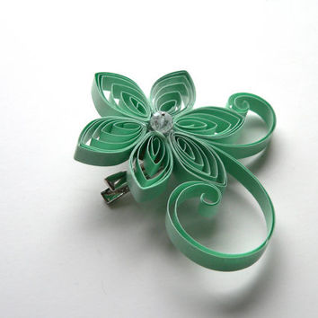 Mint Brooch and Hair Clip, Mother of the Bride Flower, Green Bridesmaid Gift, Mint Wedding Corsage