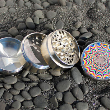 Medium size Trippy Op Art herb grinder 4 piece aluminum with scraper