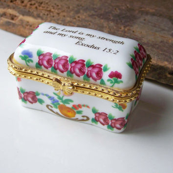 Etsy, Etsy Jewelry, Porcelain Trinket Box, Porcelain Box, Jewelry Box, Trinket Box, Bible Verse, Christian Box, Imperial Porcelain