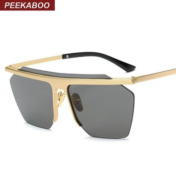 Peekaboo Vintage mirrored rimless sunglasses polygon metal gold fashion big one piece lens sunglasses men women COOL lentes