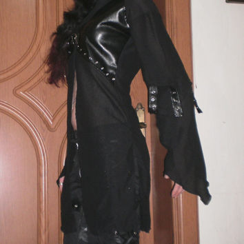 SDP wicked witch cloak  hoodie long black vest shirt jacket cardigan with leather studs straps