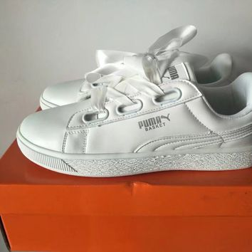 """Puma"" Women Casual Fashion Ribbon Plate Shoes Small White Shoes Sneakers"