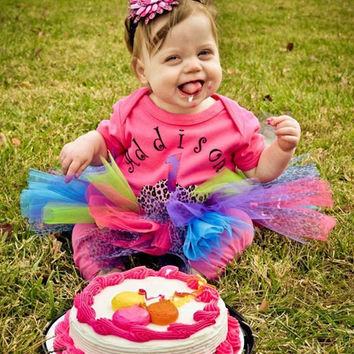Neon birthday tutu outfit - hot pink cupcake tutu set, cheetah cupcake applique, bright tutu, neon tutu, birthday tutu set, girls, babies