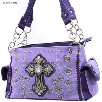 * WESTERN RHINESTONE HANDBAG CONCEALED CARRY PURSE In Lavender