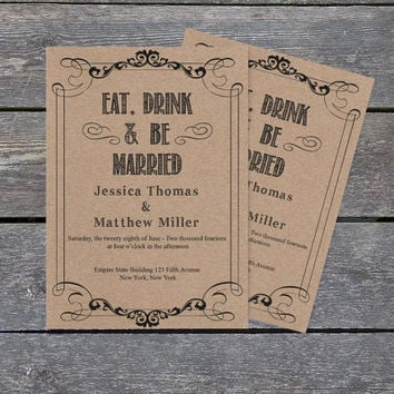 Kraft Paper Wedding Invitation Template - Eat Drink & Be Married - 5x7 Rustic Printable Wedding Editable PDF Templates - DIY You Print