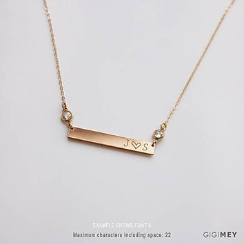 Custom Name Initial Necklace with CZ Link,