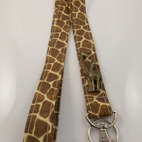 Giraffes Giraffe Lanyard  Teacher Lanyard Nurse Lanyard Giraffe Key Holder ID Badge Holder Giraffe Key Ring Work Lanyard Zoo Lanyard