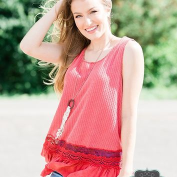 Vintage Red Lace Tank