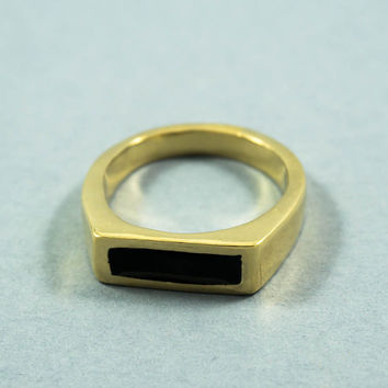Enamel Ring - Signet ring with black enamel, Gold signet ring, Black enamel ring, Enamel jewelry, Stamp ring, Fashion ring