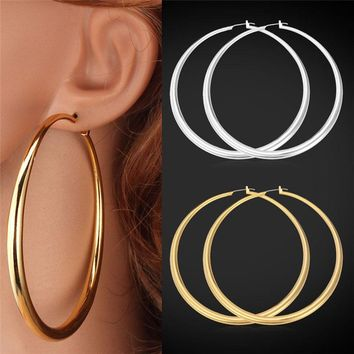 80mm Diameter Large Round Trendy Gold Hoop Earrings