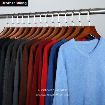 14Color Winter New Knitted Pullover Men Business Cashmere Sweater Men's Casual V-Collar Sweaters Brand Clothes