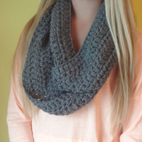 Crochet Infinity Scarf Charcoal Gray -- Soft and Warm