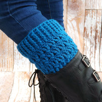 Boot Cuffs - Blue Boot Socks - winter accessory - Sapphire Blue Womens accessory - Fashion Accessory - Boot Toppers - Boot Warmers