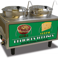 Quality Commercial Kitchen Equipment - Bench Mark USA 51072A 2 Well 7 Qt Chili & Cheese Warmer