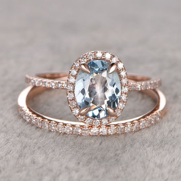 Oval Aquamarine Bridal Ring Set Diamond Wedding Band Rose Gold Thin Stacking Matching 14k/18k