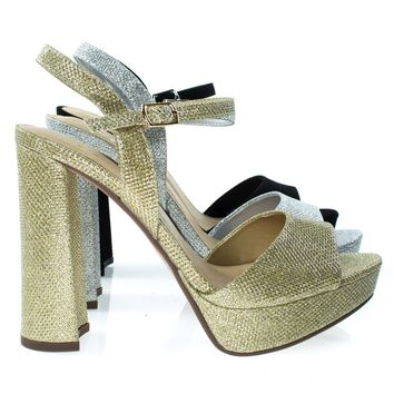 Forest Gold Shimmering By Delicious, Glitter Party Sandal, Chunky Block Heel Platform Open Toe Shoe