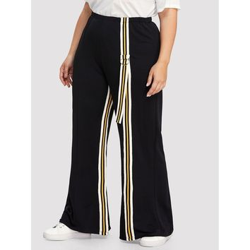 Womens Striped Tape Side Wide Leg Pants - Plus Size