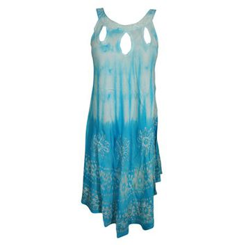 Mogul Womens Tie Dye Batik Embroidered Tank Dress Sleeveless Summer Fashion Flared Sexy Blue Boho Style Sundress - Walmart.com