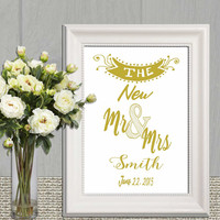 New Mr and Mrs printable Gold wedding sign Wedding print Large Custom wedding sign Personalized wedding printable Ampersand Wedding vows