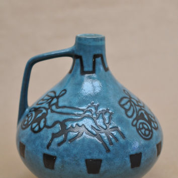 Jopeko light blue vase with design of horse-drawn chariot, West-German pottery, fifties or sixties