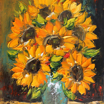 Sunflowers,giclee print of original oil impasto painting,flowers,bouquet,fine art paper print