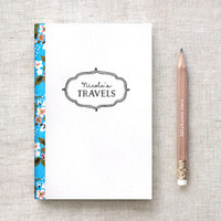 Personalized Travel Journal & Pencil Set - Birthday Gift Stocking Stuffer - 4 Floral Pattern Choices