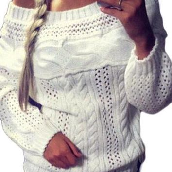 Chicloth White Chic Boat Neck Long Sleeve Chunky Sweater
