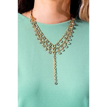 Clear As Can Be Necklace: Gold