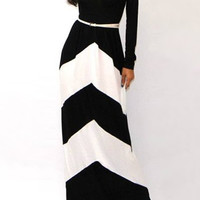 Black and White Stripe Long Sleeve Maxi Dress