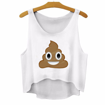 Harajuku Emoji Smile Poop 3D Print Sexy Slim For Tank Top Tees