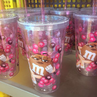 M&M's World Brown Character Water Plastic Tumbler New