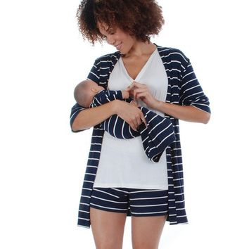 Adalia 5-Piece Navy Stripe PJ & Baby Set