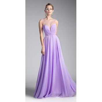 Long A-Line Chiffon Dress Lilac Illusion Neckline And Open V-Back