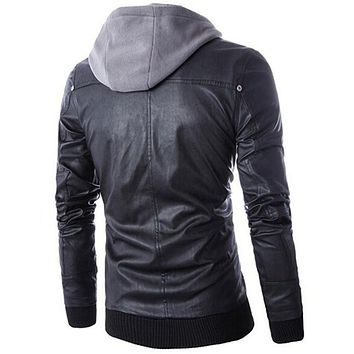 Size M-4XL Cotton Hoodie Detachable Men's Fashion Motorcycle Black PU Faux Leather Jacket Men Casual Biker Leather Coat Slim Fit