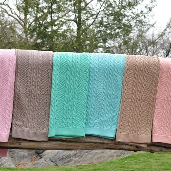 Cable Mix - Light Pink - Baby Blanket  - 100% Cotton