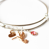 Hand Stamped Personalized Bangle Bracelet.Initial bracelet.Monogram bangle bracelet.Hummingbird bracelet.Custom Bracelet.Personalized bangle