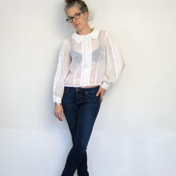 White Sheer Cropped Blouse 70s Long Sleeve Laced Shirt Billowy Sleeves See Through Edwardian Top Buttons In Back SMALL Louannes Vintage