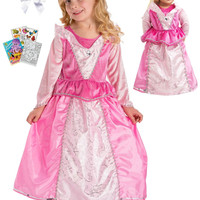 Little Adventures Sleeping Beauty Princess Dress sz 7-9 with Doll Dress, Hairbow & Coloring Book
