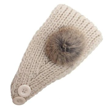 2016 Korean Fashion Faux Fur Headbands With Pompon Ball Winter Warm Knitting Button Headbands For Women Hair Accessories LY