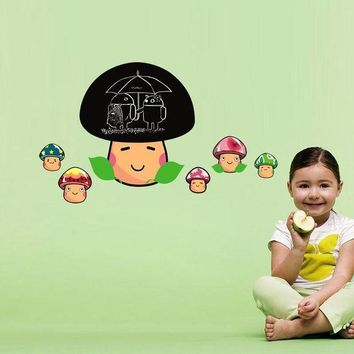 DCCKU7Q 2017  mushroom blackboard Home Decor Removable Wall Sticker Decoration for kids room