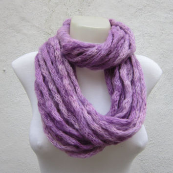 Knit tube Infinity scarf,women accessories,chunky loop scarf,neck warmer,cowl,lilac