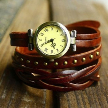 Vintage Retro Rivet Braided Genuine Leather Strap Women Wristwatches Bracelet Dress Watches Clock (With Thanksgiving&Christmas Gift Box)= 1753491716
